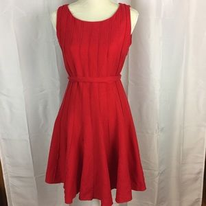 Jessica Howard red linen blend dress 8P